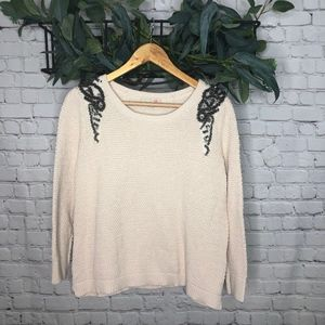 GB Ivory 3/4 Sleeve Sweater with Beading Accent